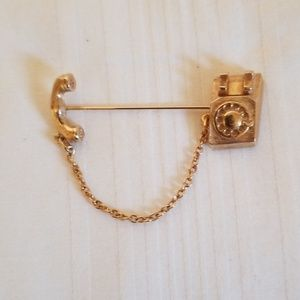 Avon Signed Retro Telephone Brooch